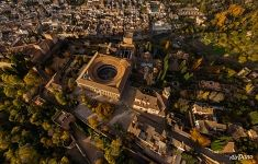 Above the Alhambra palace and fortress complex