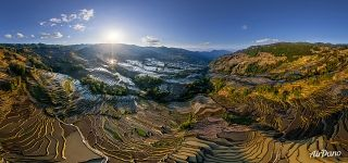 Yuanyang rice terraces. Bada Terraces at sunset from the altitude of 170 meters