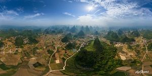 Guilin National Park. Rice fields from the altitude of 280 meters