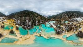 Huanglong, Sichuan. Panorama of the Beauty-Competing Pond