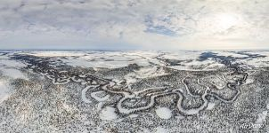 Bird's eye view of winter landscapes of Yamal