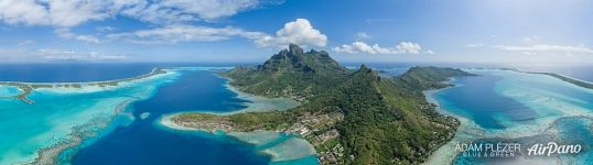 Outuoreho Point, Haamaire Bay, view of Four Seasons, St. Regis, Le Méridien and Intercontinental, Bora Bora