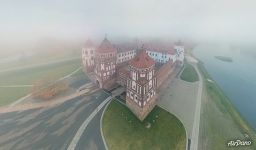 Mir Castle in the fog