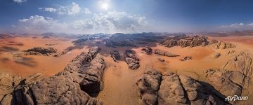 Aerial panorama of Wadi Rum