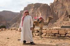 Sergey Shandin with camel in Jordan