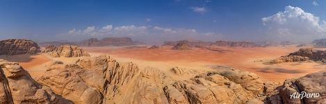 Above rocks of Wadi Rum