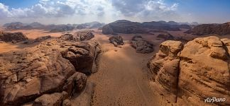 Wadi Rum from above. Panorama