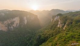 View from the glass bridge to the Zhangjiajie National Forest Park