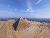 Pyramid of Khafre and Pyramid of Cheops. View from the Pyramid of Menkaure