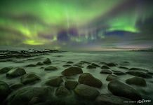Northern lights over the Barents sea