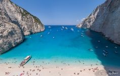 Navagio (Agios Georgios) flooded by the army of tourists