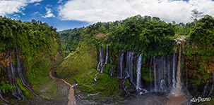 Tumpak Sewu Waterfall. Panorama