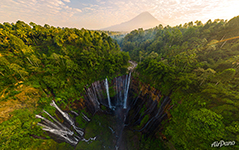 Tumpak Sewu Waterfall at sunrise