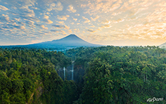 Tumpak Sewu Waterfall and Semeru volcano