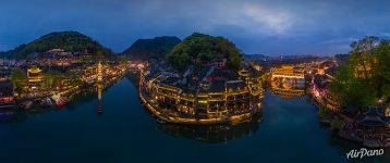 Fenghuang Town at night. Panorama
