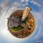 Leaning Tower and Duomo cathedral at sunset. Planet