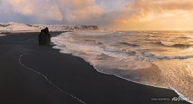 Panorama of Reynisfjara beach, South Iceland