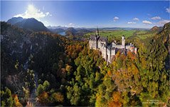 Bird's eye view of the Neuschwanstein Castle