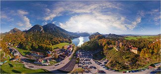 Germany, Lake Apsee and Neuschwanstein Castle