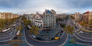 Barcelona, Spain. Battlo house by Antonio Gaudi architect (panorama)
