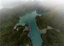 Cong Dam village from height 100 meters. Halong Bay, Vietnam