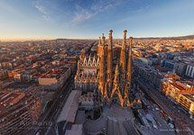Barcelona, Spain. Sargrada Familia in the evening