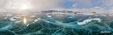 Panorama of Baikal ice near Uyuga cape