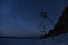 Starry Sky over Bailkal Lake