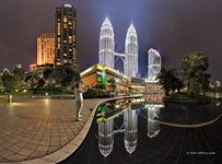 Back side Petronas. Towers reflections